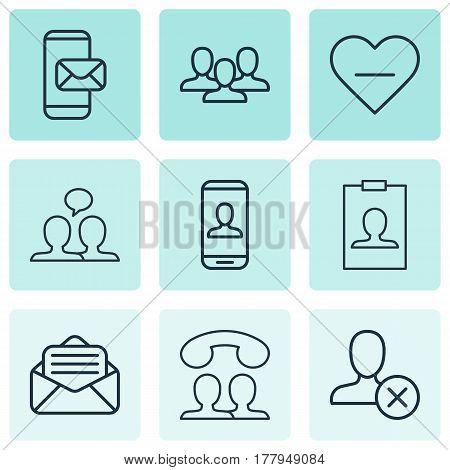 Set Of 9 Social Icons. Includes Phone Messaging, Read Message, Privacy Information And Other Symbols. Beautiful Design Elements.