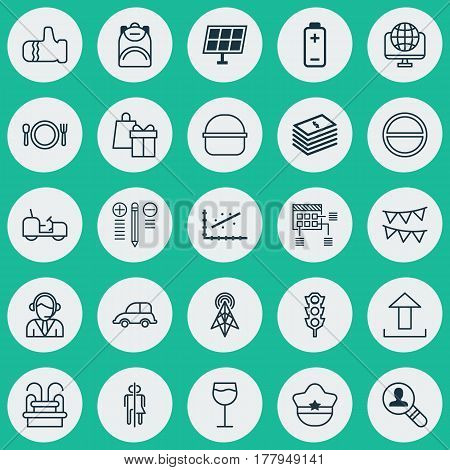 Set Of 25 Universal Editable Icons. Can Be Used For Web, Mobile And App Design. Includes Elements Such As Analytics, Cutlery, Operator And More.