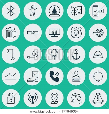 Set Of 25 Universal Editable Icons. Can Be Used For Web, Mobile And App Design. Includes Elements Such As Magic Sphere, Chatting Person, Ensign And More.