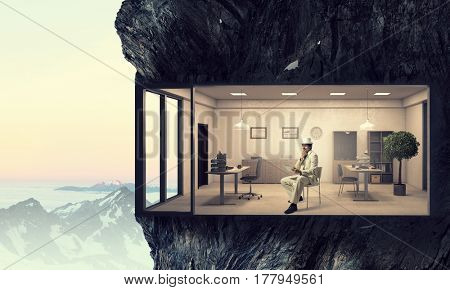 Office interior in rock . Mixed media . Mixed media