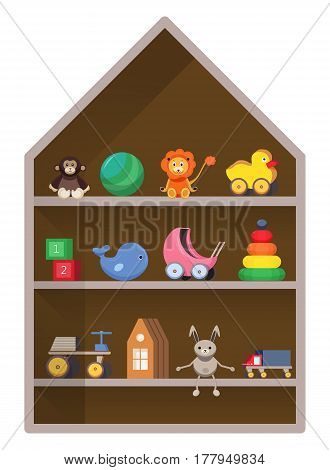Kids shop, shelf with toys, Colorful childish illustration