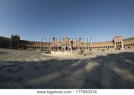 SEVILLA, SPAIN - JULY 21, 2016: Sevilla (Andalucia Spain): the square known as Plaza de Espana