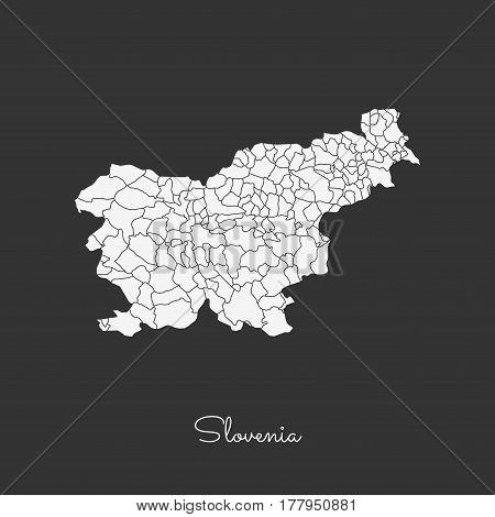Slovenia Region Map: White Outline On Grey Background. Detailed Map Of Slovenia Regions. Vector Illu