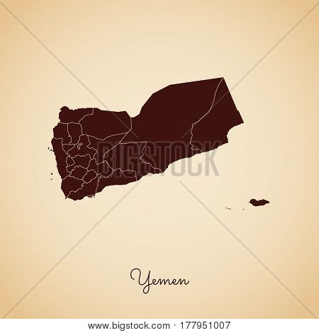 Yemen Region Map: Retro Style Brown Outline On Old Paper Background. Detailed Map Of Yemen Regions.