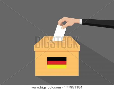 german election vote concept illustration with people voter hand gives votes insert to boxes election with long shadow flat style vector