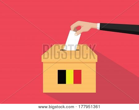 belgium election vote concept illustration with people voter hand gives votes insert to boxes election with long shadow flat style vector