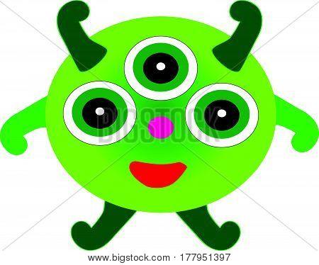 Green monster bacillus on white background. Vector illustration.