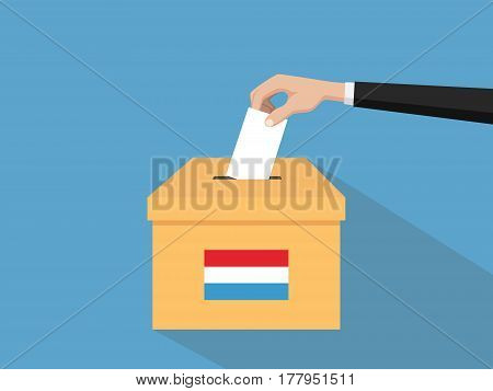 luxembourg election vote concept illustration with people voter hand gives votes insert to boxes election with long shadow flat style vector poster