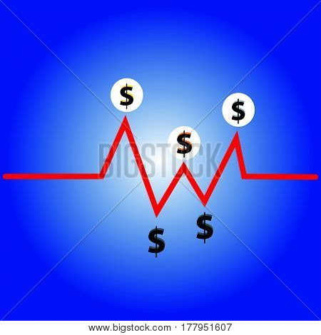 Dollar symbol on blue background. Vector illustration.