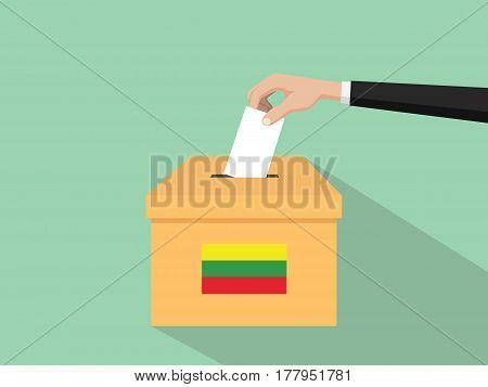 lithuania vote election concept illustration with people voter hand gives votes insert to boxes election with long shadow flat style vector