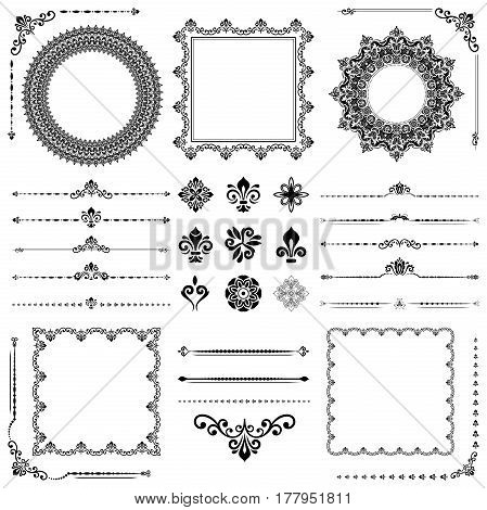 Vintage black and white set of classic elements. Different elements for decoration and design frames, cards, menus, backgrounds and monograms. Collection of floral ornaments
