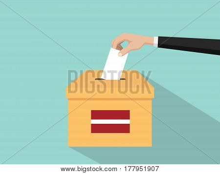latvia vote election concept illustration with people voter hand gives votes insert to boxes election with long shadow flat style vector