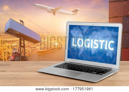 Laptop showing business logistic and internet of things technology concept for Global business connection to customer for worldwide container cargo shipping with logistic concept background