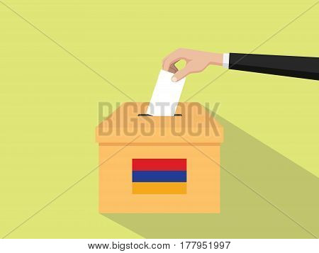armenia vote election concept illustration with people voter hand gives votes insert to boxes election with long shadow flat style vector