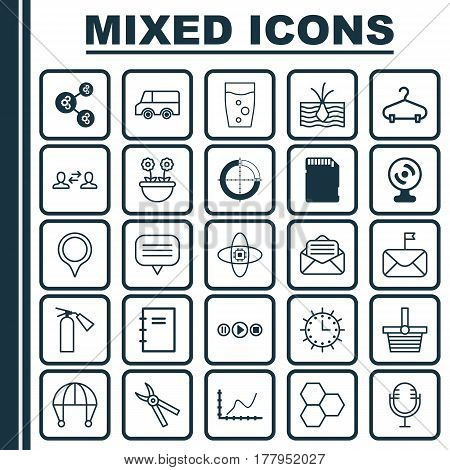 Set Of 25 Universal Editable Icons. Can Be Used For Web, Mobile And App Design. Includes Elements Such As Song UI, Lorry, Skydive And More.