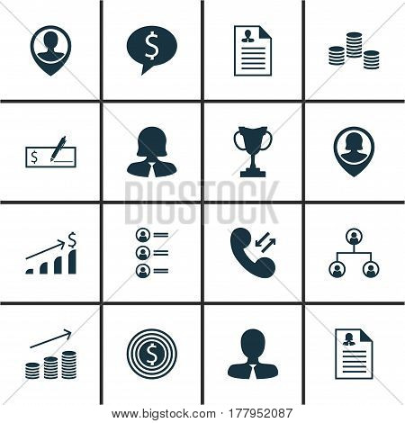 Set Of 16 Management Icons. Includes Tree Structure, Manager, Female Application And Other Symbols. Beautiful Design Elements.