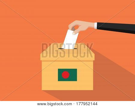 bangladesh vote election concept illustration with people voter hand gives votes insert to boxes election with long shadow flat style vector
