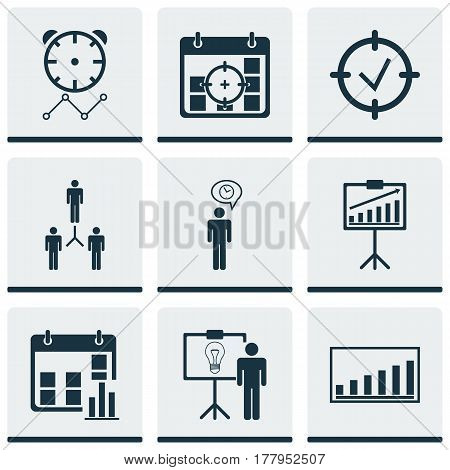 Set Of 9 Management Icons. Includes Reminder, Project Targets, Presentation Date And Other Symbols. Beautiful Design Elements.