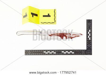 Metal knife blood covered as a evidence of violent crime