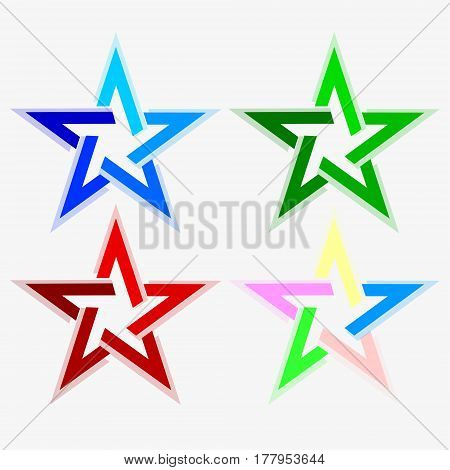 star of five ends, abstract kinds of different colors, set