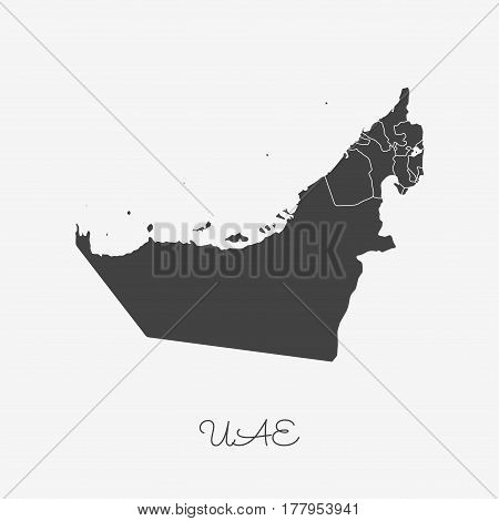 Uae Region Map: Grey Outline On White Background. Detailed Map Of Uae Regions. Vector Illustration.