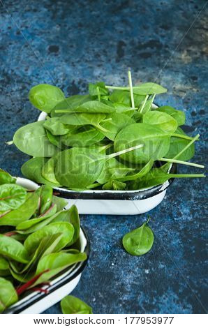 Mix Of Fresh Baby Mangold And Spinach Leaves On A Blue Textured Background. Copy Space.