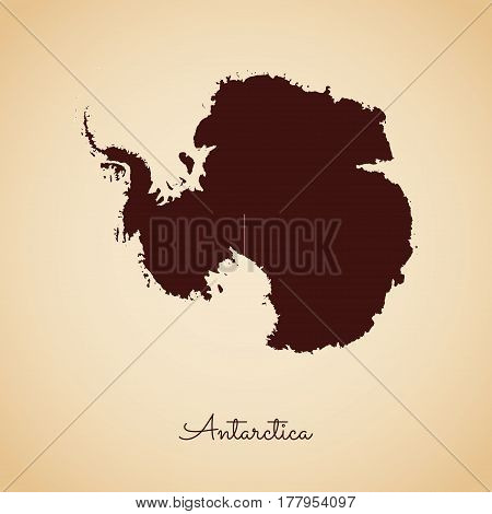 Antarctica Region Map: Retro Style Brown Outline On Old Paper Background. Detailed Map Of Antarctica