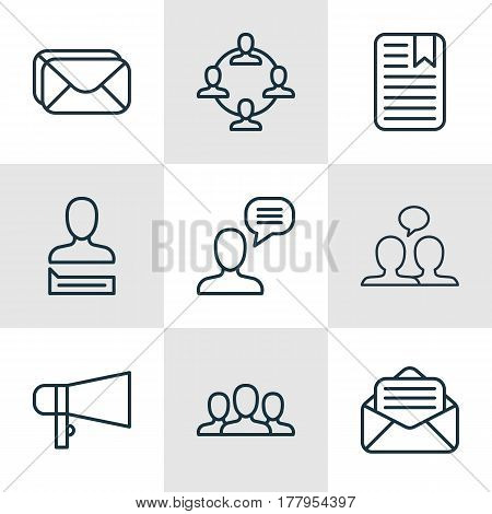 Set Of 9 Social Network Icons. Includes Society, Chatting Person, Team Organisation And Other Symbols. Beautiful Design Elements.