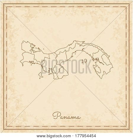 Panama Region Map: Stilyzed Old Pirate Parchment Imitation. Detailed Map Of Panama Regions. Vector I