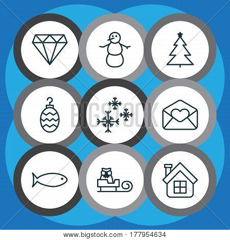 Set Of 9 New Year Icons. Includes Star Snow, Residential, Winter And Other Symbols. Beautiful Design Elements.