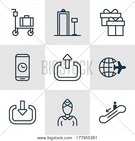 Set Of 9 Transportation Icons. Includes Hostess, Call Duration, Exit And Other Symbols. Beautiful Design Elements.