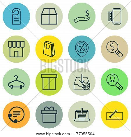 Set Of 16 Ecommerce Icons. Includes Discount Location, E-Trade, Box And Other Symbols. Beautiful Design Elements.