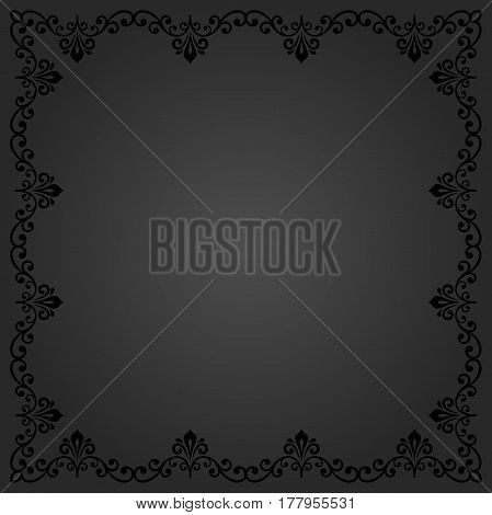 Classic square frame with arabesques and orient elements. Abstract dark ornament with place for text