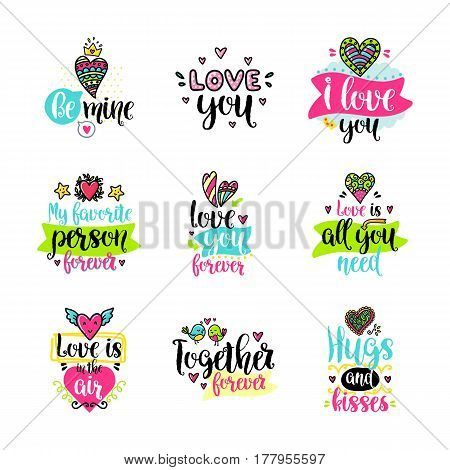 Vector calligraphy with decor elements. Hand drawn lettering collection. Funny color posters. Design for t-shirt and prints. Romantic text, Valentine s day theme.