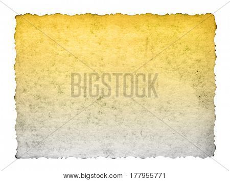 Concept or conceptual old vintage brown golden paper background aged texture isolated on white
