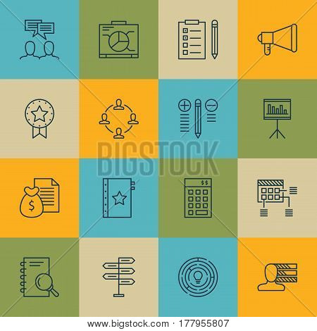Set Of 16 Project Management Icons. Includes Warranty, Board, Investment And Other Symbols. Beautiful Design Elements.