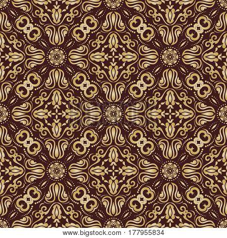 Damask classic golden pattern. Seamless abstract background with repeating elements
