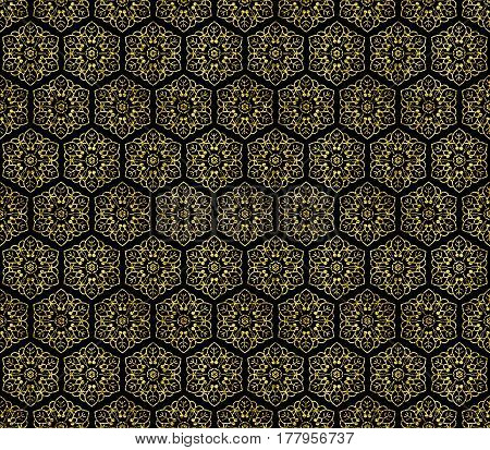 Golden seamless flower ornament from floral design elements. Honey comb tiles background. Intricate hexagon wallpaper, gift paper, fabric print, fashion textile, furniture.