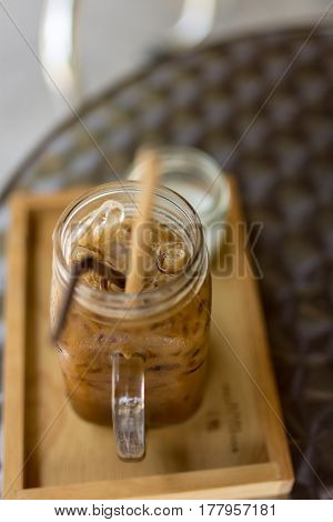 Thai Iced Coffee With Milk In A Glass Mason Jar.