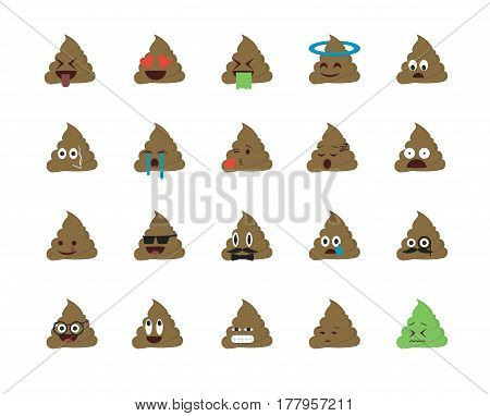 Set of shit emoticon vector isolated on white background. Emoji vector. Smile icon set. Emoticon icon web.