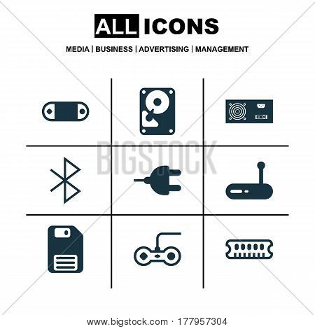 Set Of 9 Computer Hardware Icons. Includes Router, Radio Set, Wireless Connection And Other Symbols. Beautiful Design Elements.