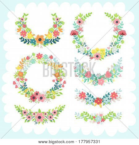 Doodles cute elements, spring theme. Color vector items collection. Illustration with floral frames and leaves. Design for prints and cards.