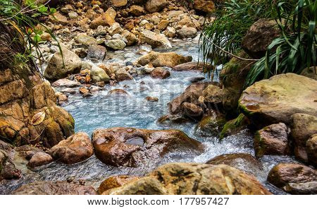 Rocky River Stream in Dominica during the boiling lake hike in the valley of desolation