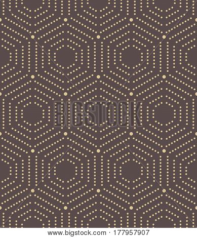 Geometric repeating golden ornament with hexagonal dotted elements. Seamless abstract modern pattern