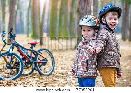Kids Resting After Biking