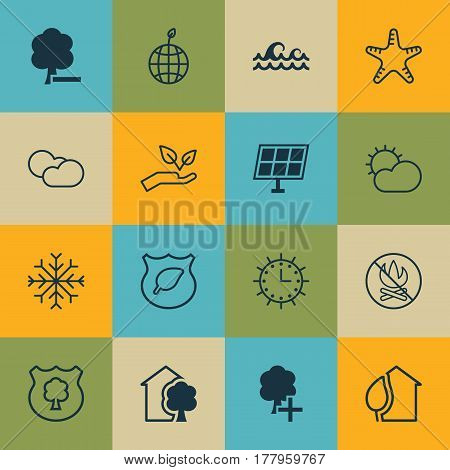 Set Of 16 Eco Icons. Includes Sea Star, World Ecology, Clear Climate And Other Symbols. Beautiful Design Elements.
