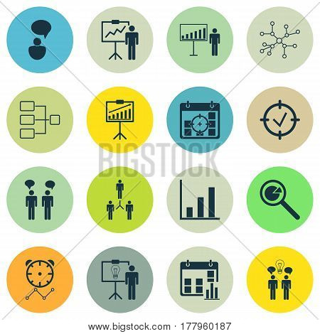 Set Of 16 Executive Icons. Includes Opinion Analysis, Group Organization, Approved Target And Other Symbols. Beautiful Design Elements.