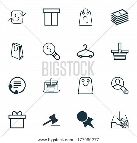 Set Of 16 E-Commerce Icons. Includes Discount Coupon, Refund, Recurring Payements And Other Symbols. Beautiful Design Elements.