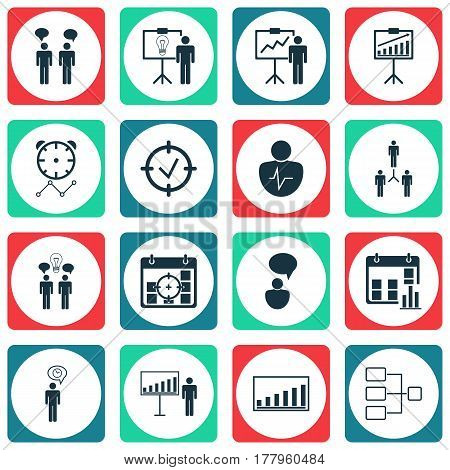 Set Of 16 Authority Icons. Includes Approved Target, Project Targets, System Structure And Other Symbols. Beautiful Design Elements.