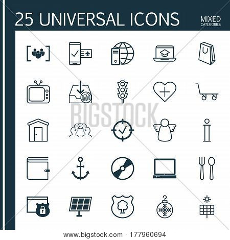 Set Of 25 Universal Editable Icons. Can Be Used For Web, Mobile And App Design. Includes Elements Such As Internet Network, Eating House, Television And More.